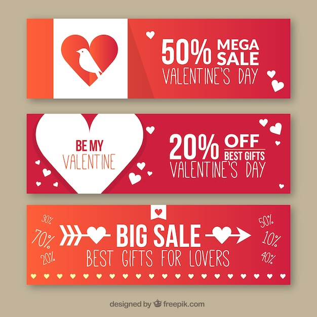 valentines day banners in gradient color style vector free download