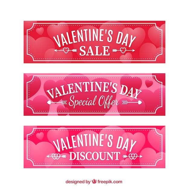 Valentines day banners pack in red and pink color Free Vector