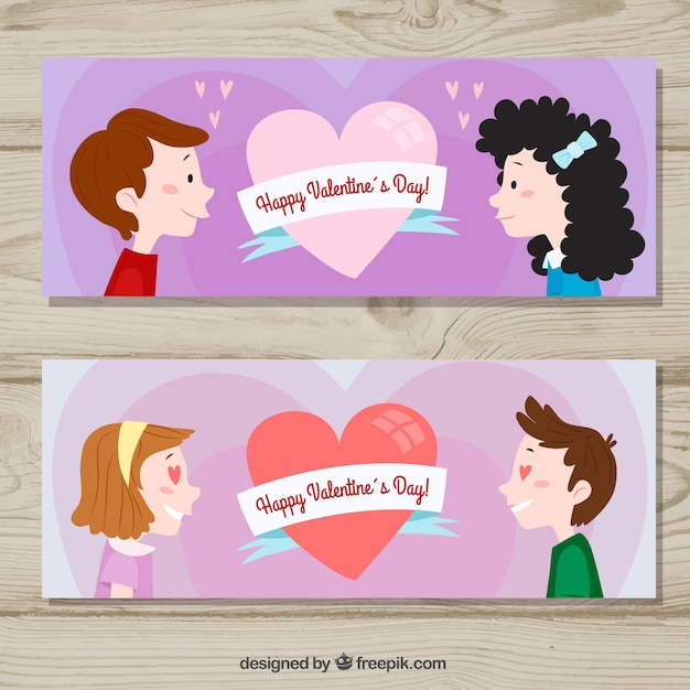 Valentines day banners with couples looking at each other Free Vector
