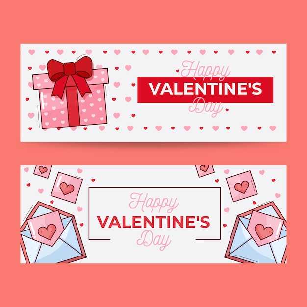 Valentines day banners with flat design Free Vector