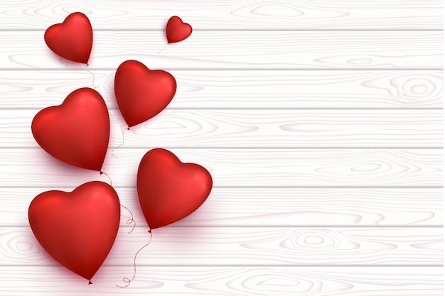 バレンタインデーハート風船が分離された空白の木製バナー。ロマンチックな背景。 Premiumベクター