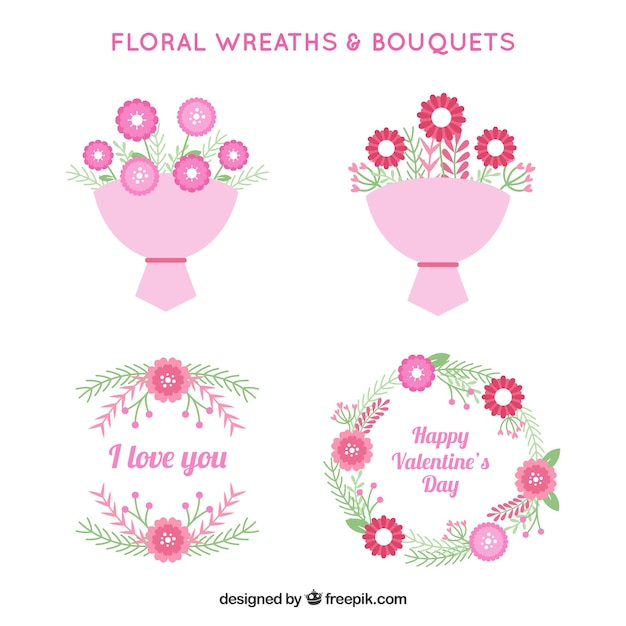 Valentines day bouquets and wreath