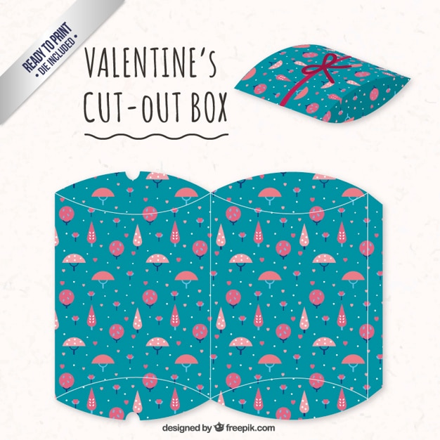 Valentines day box with pink trees Free Vector