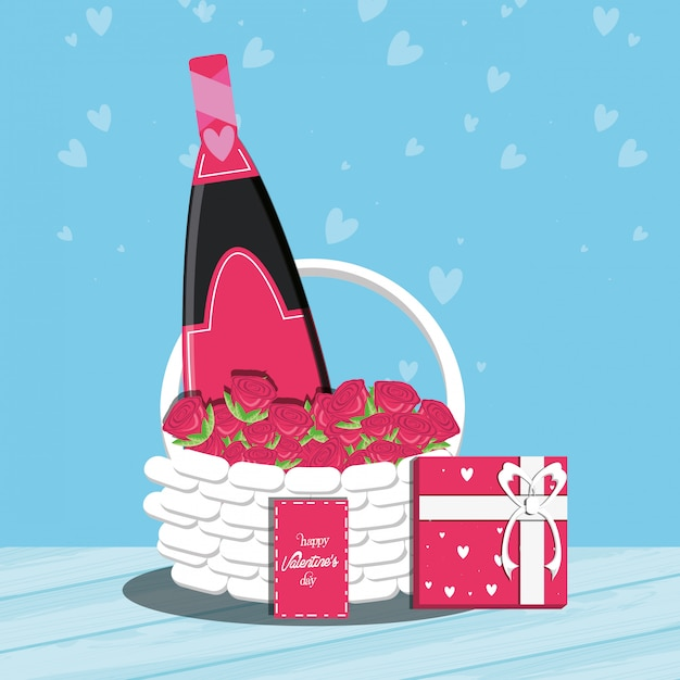 Valentines day card with bottle wine and basket Premium Vector