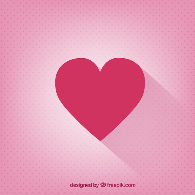 Valentines day card with a flat heart Free Vector