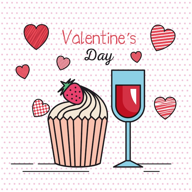 Valentines day card with hearts and cup wine Premium Vector
