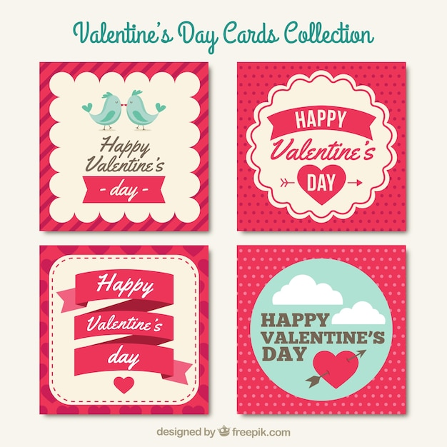 Valentines Day Cards Collection Vector  Premium Download