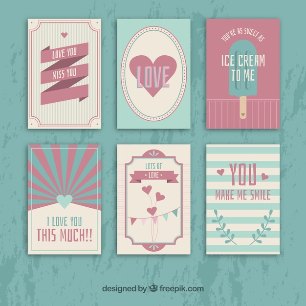 Valentines day cards in reto style Free Vector