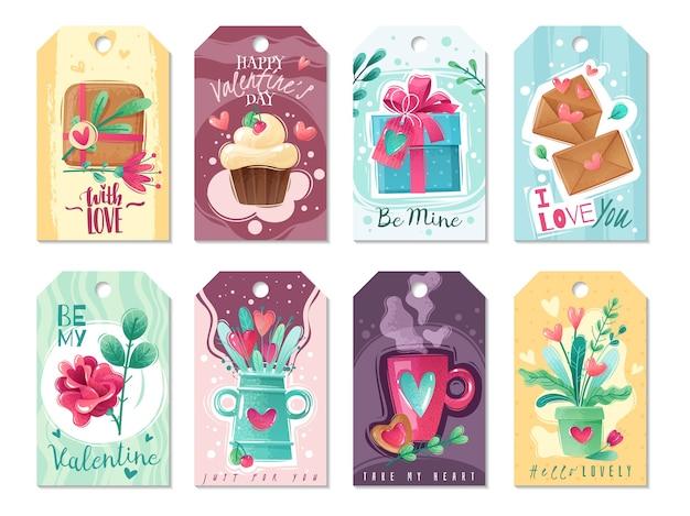 Карточки шаржа дня святого валентина. большой набор поздравительных открыток ко дню святого валентина в мультяшном стиле с текстурой потертый шик. розово-голубая гамма. нежные яркие цвета и оттенки. Premium векторы