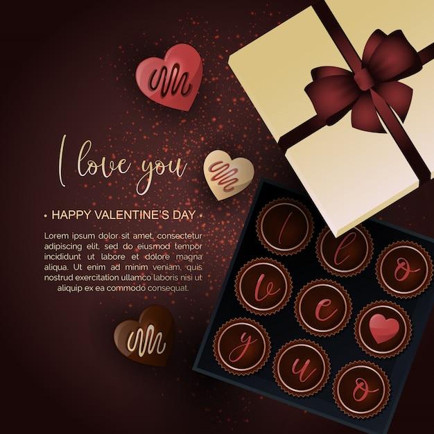 Premium Vector Valentines Day Chocolate Box Background