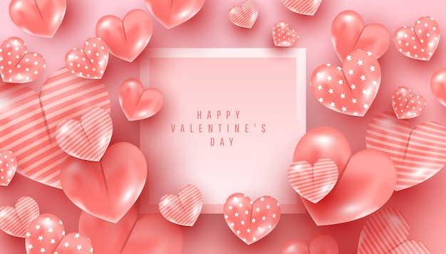 Valentines day concept. beautiful 3d pattern heart shape decor fly in the air on pink Premium Vector