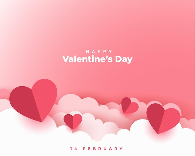 Valentines day concept card in paper cut style Free Vector