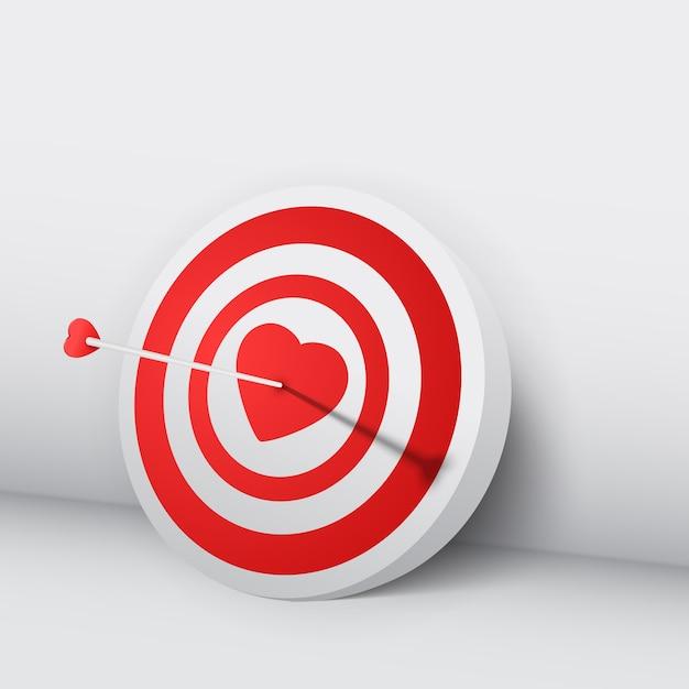 Il concetto di giorno di biglietti di s. valentino con la freccia 3d ha colpito il bersaglio nell'illustrazione di vettore isolata cuore Vettore gratuito