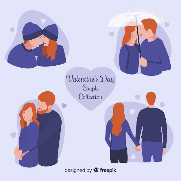 Valentines day couple collection Free Vector