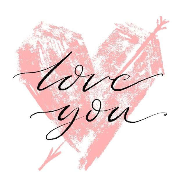 Valentines day creative artistic hand drawn card. Premium Vector