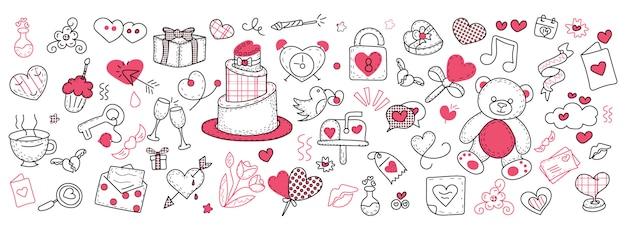 День святого валентина doodle баннер Premium векторы