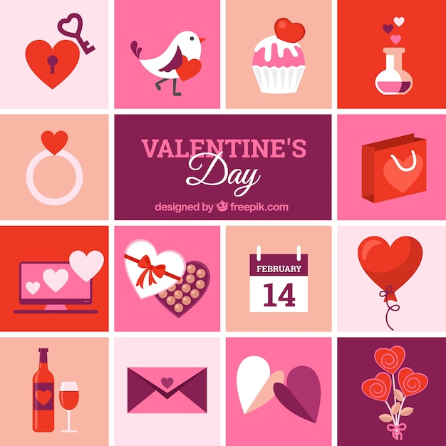 Valentines Day Elements In Purple And Red Color Vector Free Download