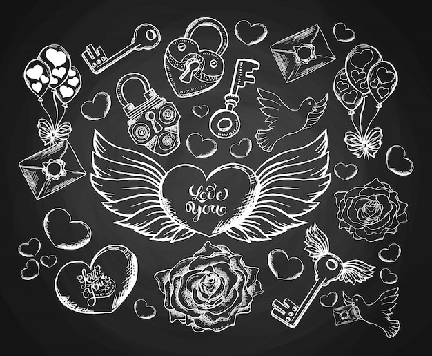 Valentines day engravind set with envelope, hear, wings, dove and rose. Free Vector