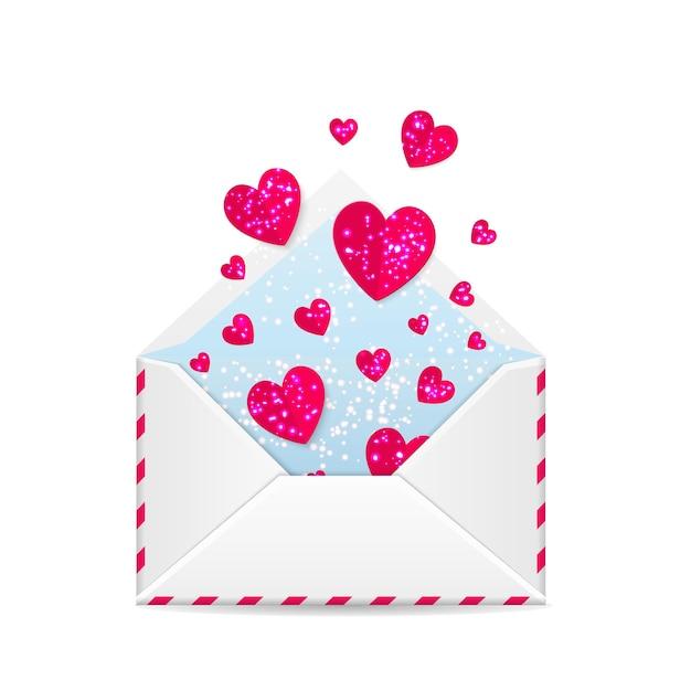 バレンタインデーの封筒 Premiumベクター