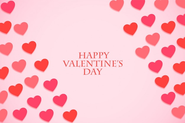 Valentines day event greeting card with pink shades hearts Free Vector