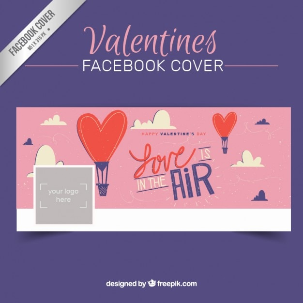 Valentines day facebook cover in hand drawn style Vector | Free ...