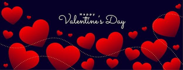 День святого валентина плавающие красные сердца баннер Бесплатные векторы