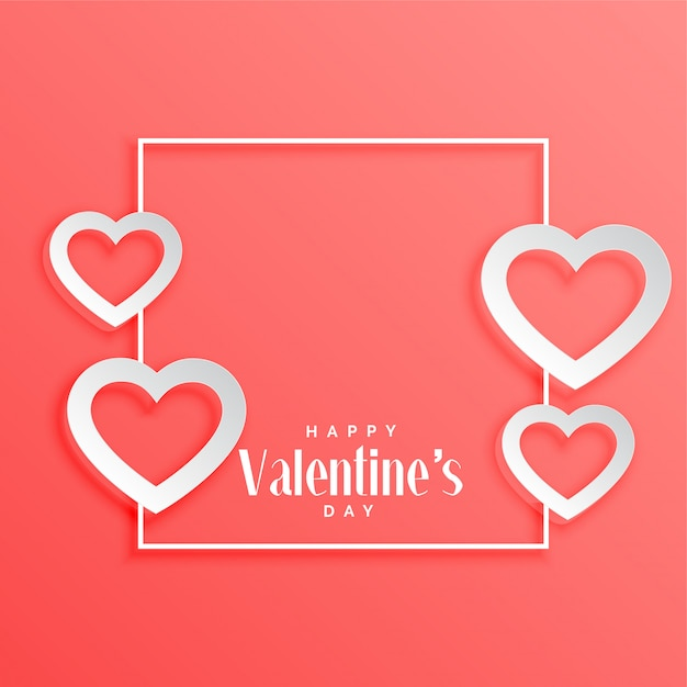 Valentines Day Frame With Hearts Background Vector Free Download
