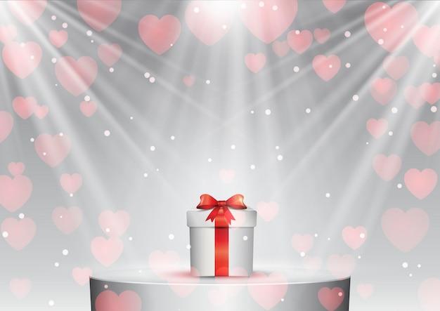 스포트라이트 아래 연단에 발렌타인 데이 선물 무료 벡터