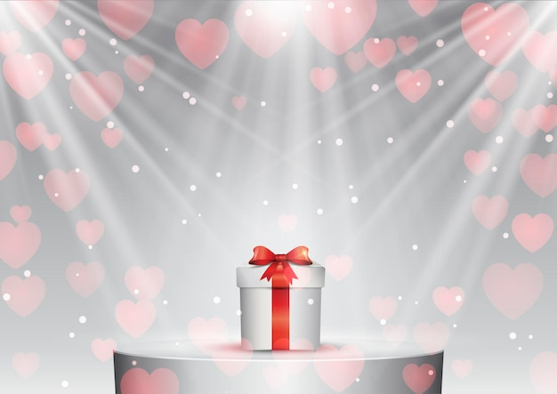 Valentines day gift on a podium under spotlights Free Vector