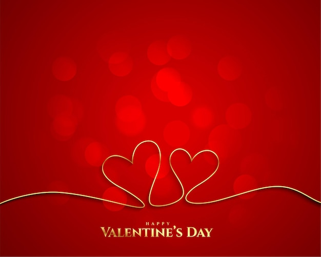 Valentines day golden line hearts background Free Vector