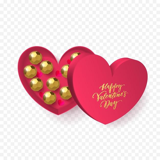 황금 포장지에 초콜릿 사탕과 심장 선물 상자 장식의 발렌타인 데이 인사말 카드. 프리미엄 벡터