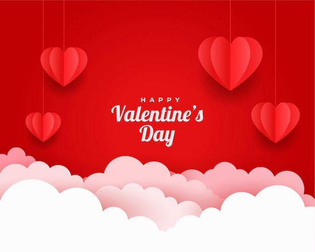 Valentines day greeting card in paper cut style Free Vector