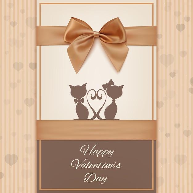 고양이 두 마리, 나비와 리본 발렌타인 데이 인사말 카드 템플릿. 프리미엄 벡터