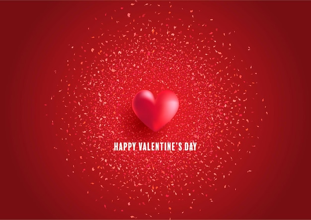 Valentines day greeting card with heart and confetti design Free Vector