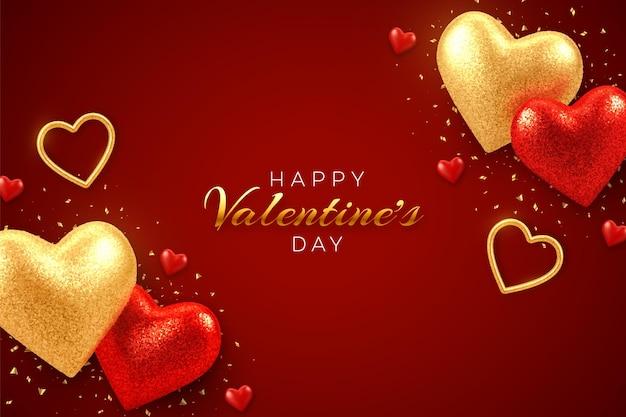 현실적인 빨간색과 금색 3d 풍선 하트 빛나는 발렌타인 데이 인사말 카드 프리미엄 벡터