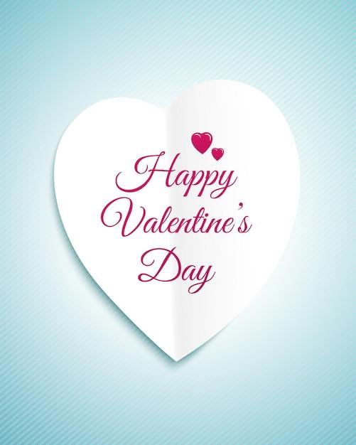 백서 마음과 기호 해피 발렌타인 데이 발렌타인 데이 인사말 카드 프리미엄 벡터