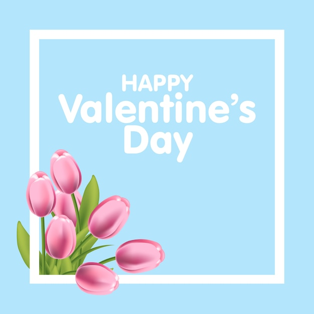 Valentines day greeting card with tulips flowers and frame Premium Vector