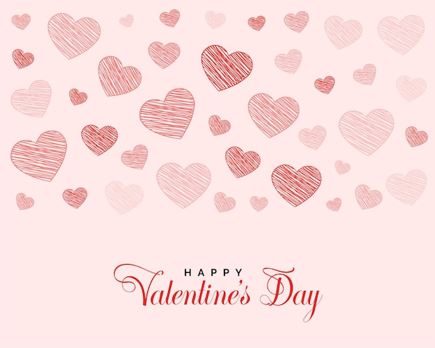 Valentines day greeting design with doodle hearts Free Vector
