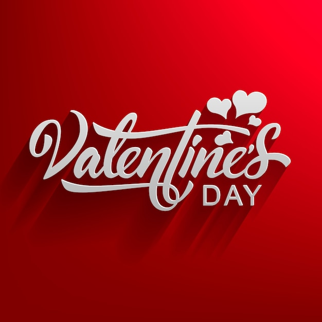 Valentines day hand drawn text with falling shadow isolated on red Premium Vector