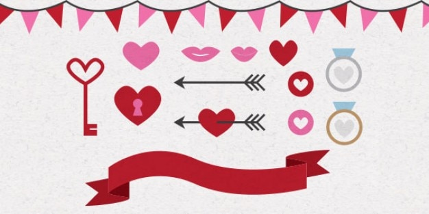 Valentines day hearts and arrows Free Vector