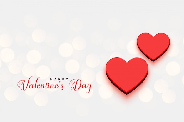 Valentines day hearts bokeh background Free Vector