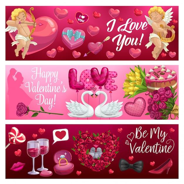 День святого валентина сердца, амуров, цветы и подарки Premium векторы