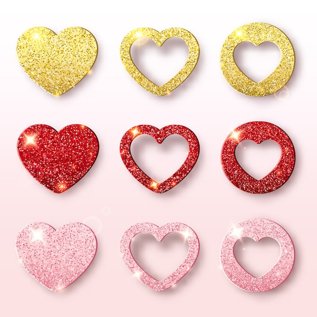 Valentines day holiday collection. set of glitter heart shapes. festive decorations bright glitter placer. romantic scene Premium Vector