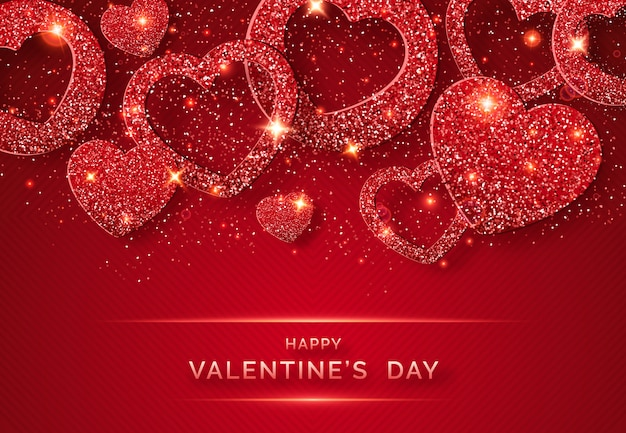 Valentines day horizontal background with shining red heart and confetti Premium Vector