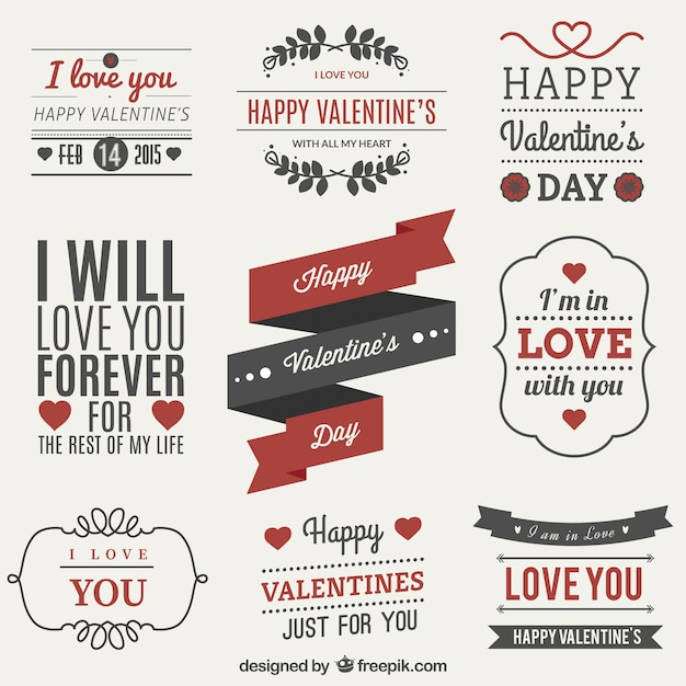 Valentines Day Label Set Vector  Free Download