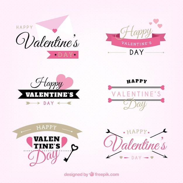 Valentines day labels in retro style Premium Vector