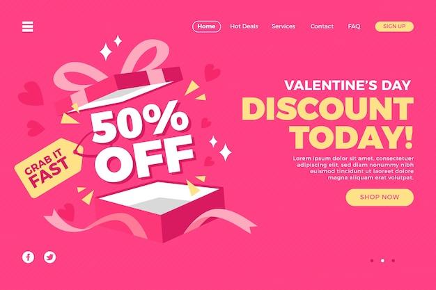 발렌타인 데이 방문 페이지 판매 프리미엄 벡터