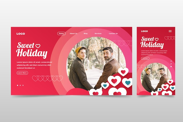Valentines day landing page template Free Vector