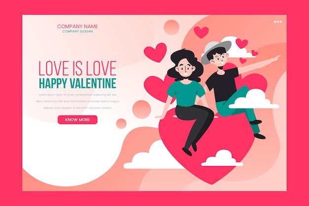 Valentines day landing page Free Vector