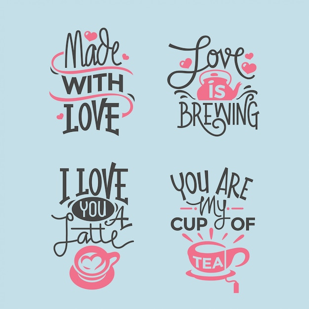 Valentines day lettering quotes collection Premium Vector